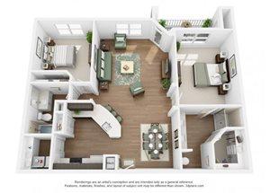The Ellis Apartments |B5 Floor Plan  2 Bedroom 2 Bath