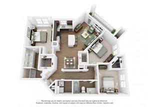 The Ellis Apartments | C1a Floor Plan 3 Bedroom 2 Bath