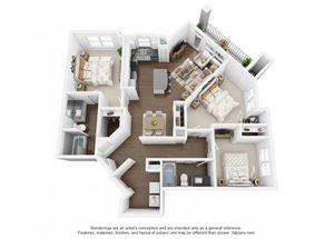 The Ellis Apartments | C1ag Floor Plan 3 Bedroom 2 Bath