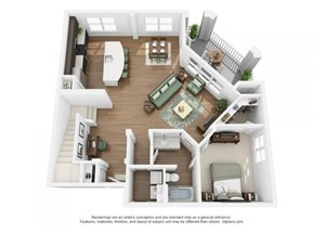 The Ellis Apartments |Town House Floor Plan 2 Bedroom 2 Bath
