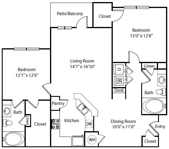 The Villas at Shadow Creek Apartments | 1177 sqft Floorplan