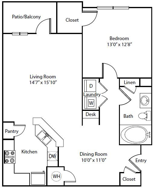 The Villas at Shadow Creek Apartments | 880 sqft Floorplan