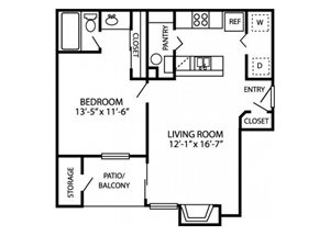 Canyon Chase Floor Plan A1 1 Bed 1 Bath