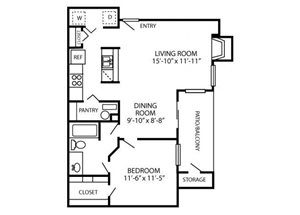 Canyon Chase Floor Plan A2 1 Bed 1 Bath