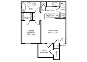 Legacy Heights A1 Floor Plan 1 Bedroom 1 Bath