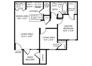 Legacy Heights B1 Floor Plan 2 Bedroom 1 Bath