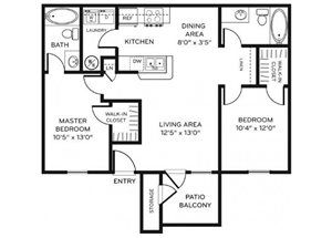 Legacy Heights C1 Floor Plan 2 Bedroom 2 Bath
