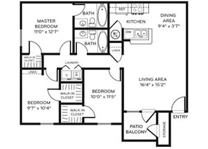 Legacy Heights D1 Floor Plan 3 Bedroom 2 Bath