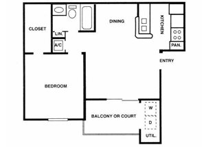 Sage Hollow | A1 Floor Plan 1 Bedroom 1 Bath