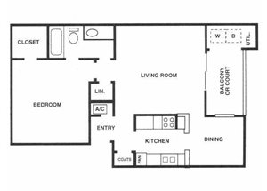 Sage Hollow | A2 Floor Plan 1 Bedroom 1 Bath