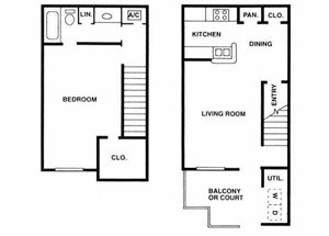 Sage Hollow | A3 Floor Plan 1 Bedroom 1 Bath