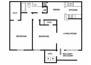 Sage Hollow | B1 Floor Plan 2 Bedroom 1 Bath