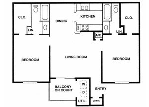 Sage Hollow | B2 Floor Plan 2 Bedroom 2 Bath
