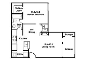 Stillwater Apartments| The Peak Floor Plan 1 Bedroom 1 Bath