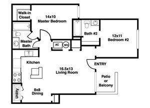 Stillwater Apartments| B Floor Plan 2 Bedroom 2 Bath