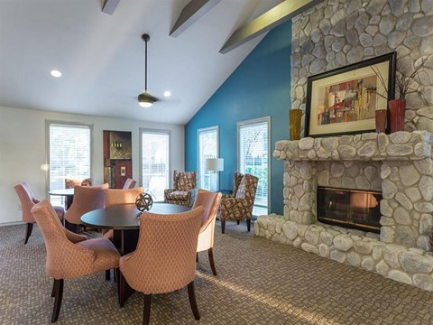 The Hunt Club at Pin Oak Apartments Katy, TX Clubhouse with Fireplace