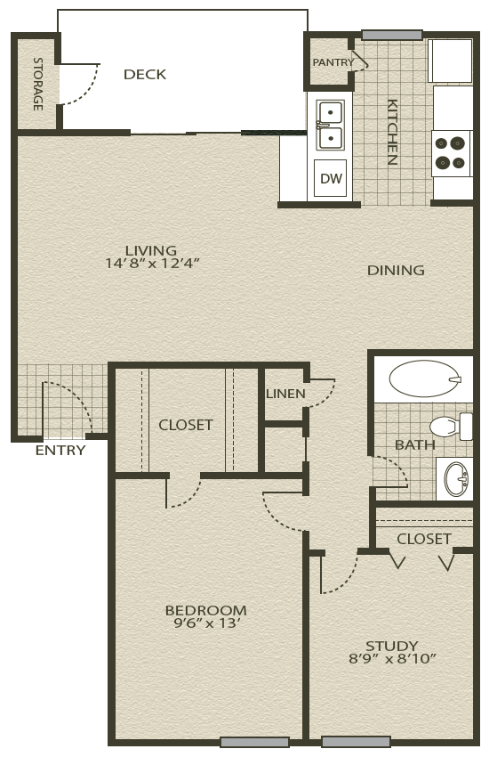 Floor Plan 3 | Grove At Northwest Hills Apartments Austin, Tx