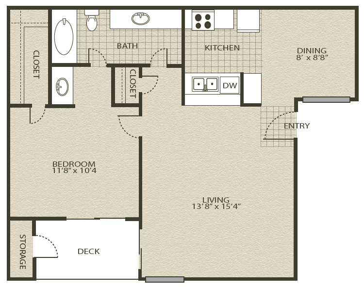 Floor Plan 2 | Grove At Northwest Hills Apartments Austin, Tx