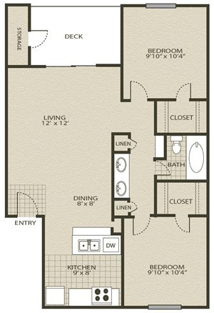 Floor Plan 4 | Grove At Northwest Hills Apartments Austin, Tx