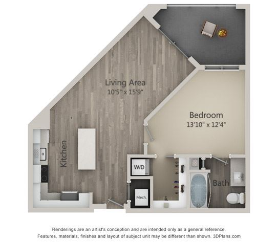 Abbey One Bed One Bath Floor Plan at Mayfaire Flats, Wilmington, 28405