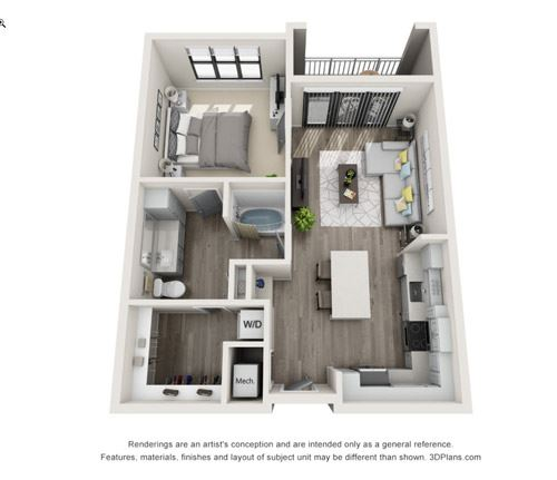 Addison One Bed One Bath Floor Plan at Mayfaire Flats, Wilmington