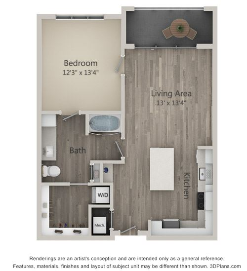 Avondale One Bed One Bath Floor Plan at Mayfaire Flats, North Carolina