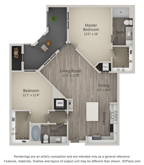 Brookland Two Bed Two Bath Floor Plan at Mayfaire Flats, North Carolina, 28405