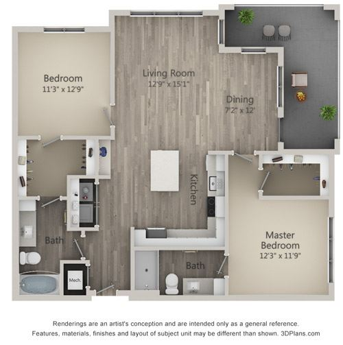 Browning Two Bed Two Bath Floor Plan at Mayfaire Flats, Wilmington, NC, 28405