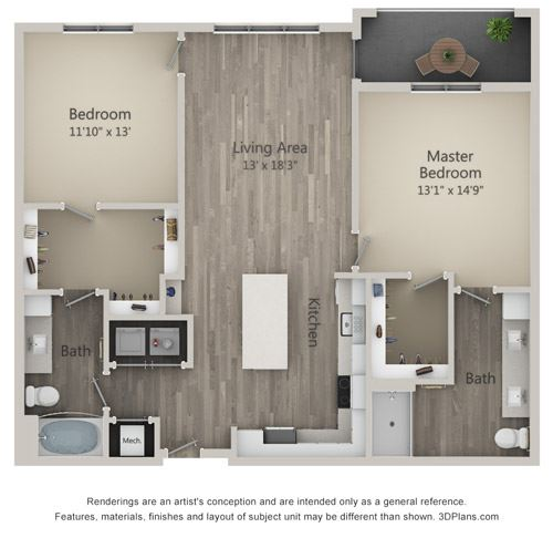 Burberry Two Bed Two Bath Floor Plan at Mayfaire Flats, Wilmington, NC