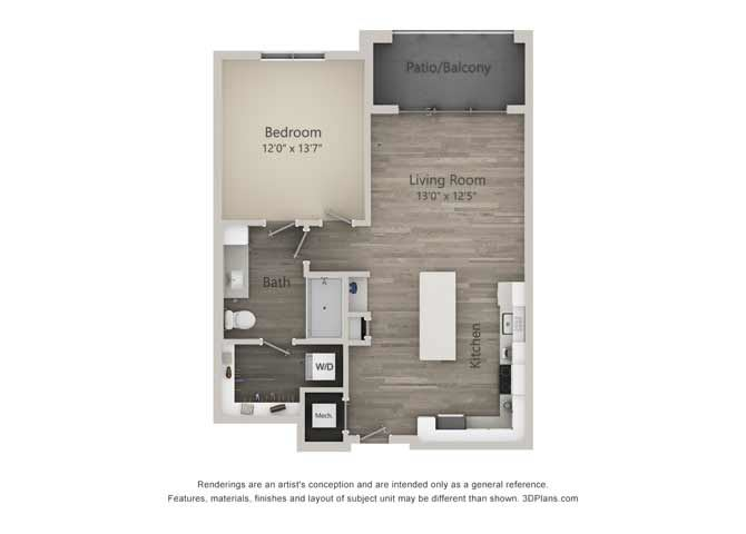 Atwood One Bed One Bath Floor Plan at Mayfaire Flats, Wilmington, 28405
