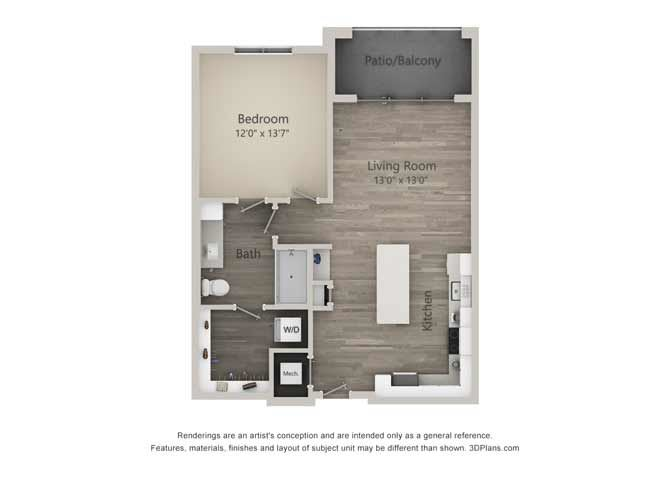 Archer One Bed One Bath Floor Plan at Mayfaire Flats, Wilmington, 28405