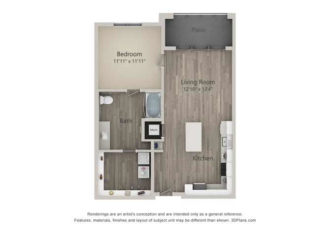 Abbot One Bed One Bath Floor Plan at Mayfaire Flats, Wilmington