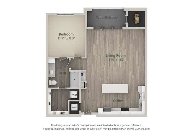 Admiral One Bed One Bath Floor Plan at Mayfaire Flats, Wilmington, NC, 28405