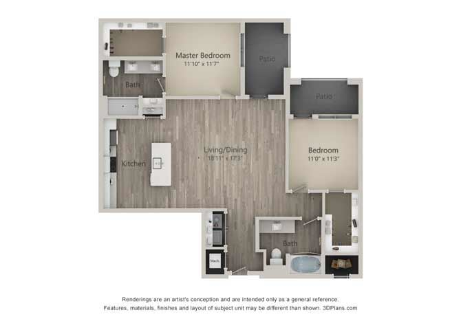 Baker Two Bed Two Bath Floor Plan at Mayfaire Flats, Wilmington, NC