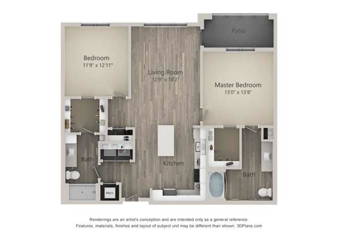 Brewer Two Bed Two Bath Floor Plan at Mayfaire Flats, Wilmington
