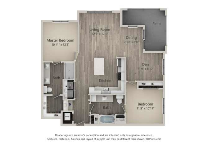 Bedford Two Bed Two Bath Floor Plan at Mayfaire Flats, North Carolina
