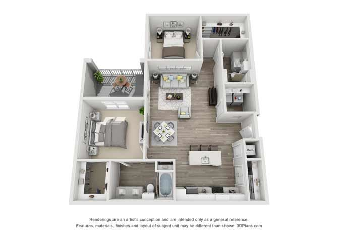 Byron Two Bed Two Bath Floor Plan at Mayfaire Flats, North Carolina, 28405