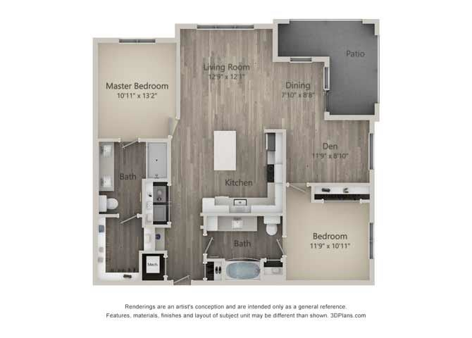 Brighton Two Bed Two Bath Floor Plan at Mayfaire Flats, Wilmington, NC