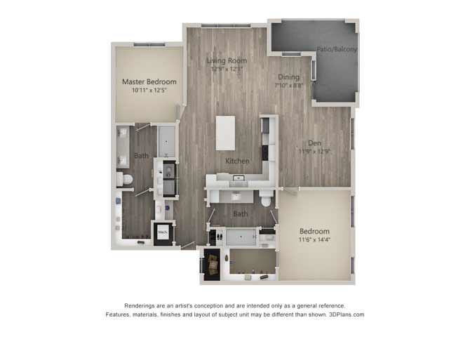 Bridgewater Two Bed Two Bath Floor Plan at Mayfaire Flats, Wilmington, 28405