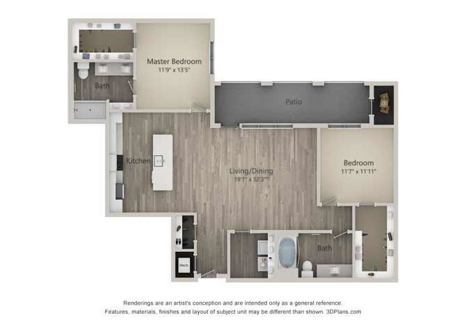 Brunswick Two Bed Two Bath Floor Plan at Mayfaire Flats, Wilmington