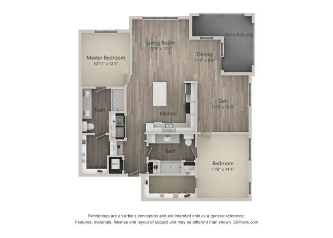 Britannia Two Bed Two Bath Floor Plan at Mayfaire Flats, North Carolina, 28405