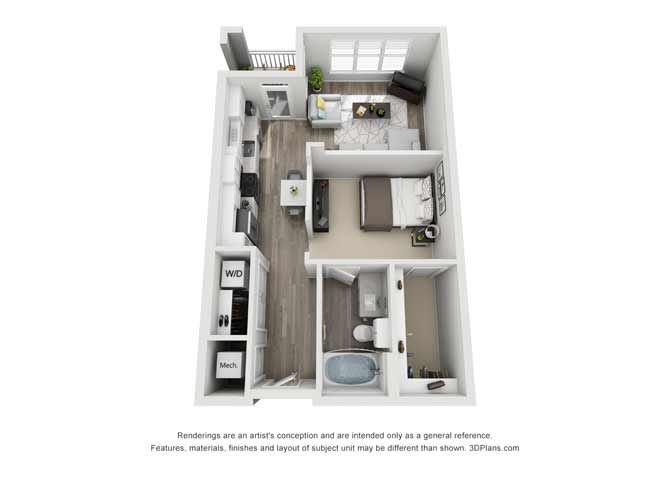 Susex Studio Floor Plan at Mayfaire Flats, Wilmington, NC, 28405