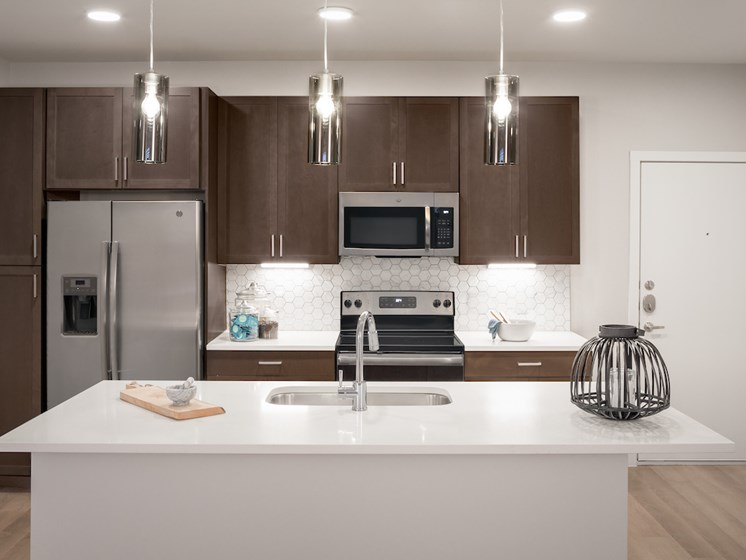 Chef Inspired Kitchen Islands with Chic Pendant Lighting at The Flats at 901, Euless, 76039