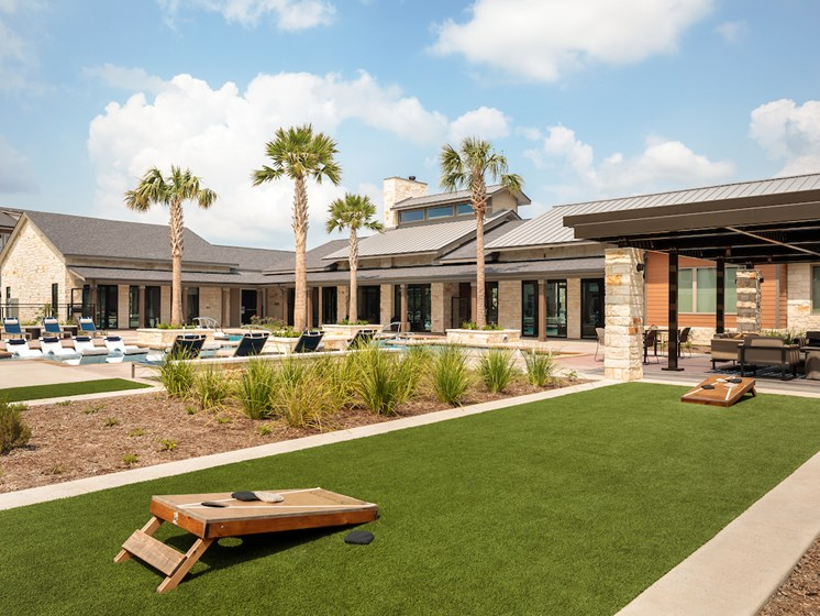 Poolside Outdoor Yard Game Area at Viridian, San Antonio