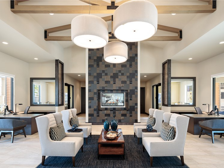 Posh Lounge Area In Clubhouse Is Perfect For Meeting Up With Friends at Viridian, San Antonio, TX