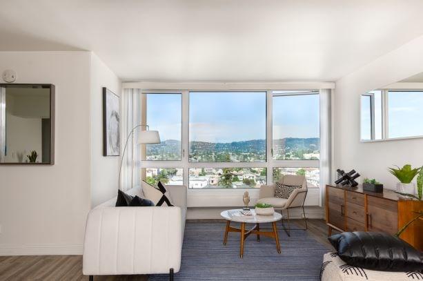 Living room with window Merritt on 3rd