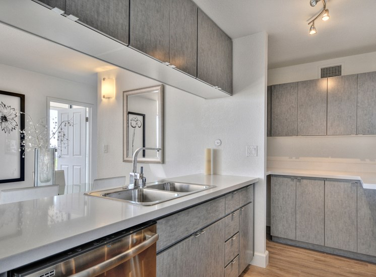 Kitchen counter and Cupboards Apts for rent in Oakland Ca Merritt On 3rd
