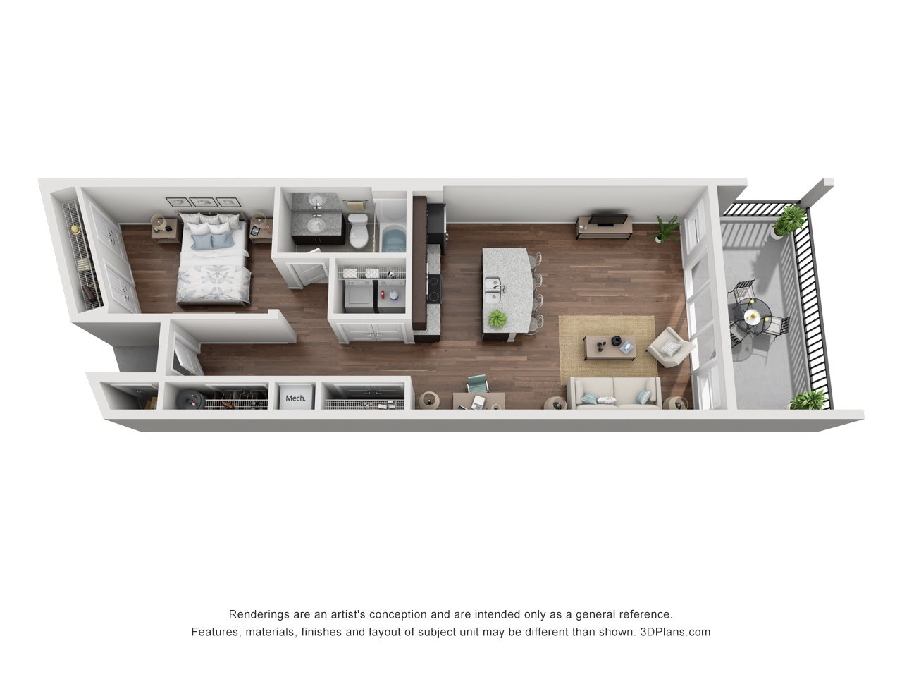Lake View Single Suite Floor Plan 1