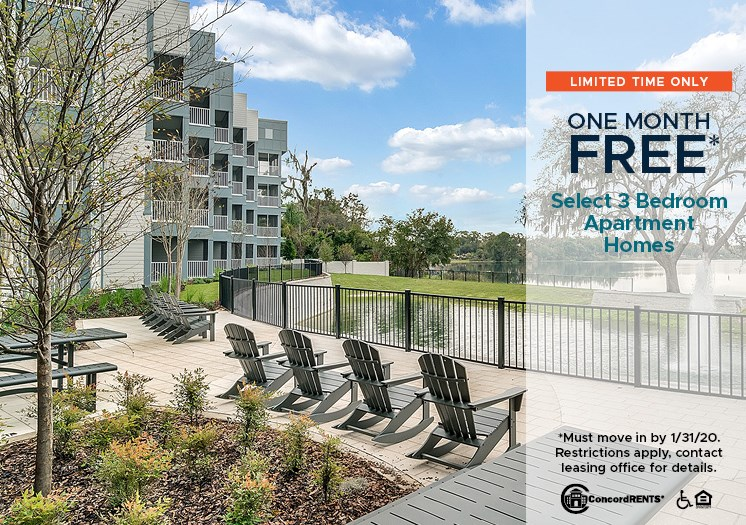 1 Month Free on select 3 bedroom apartment homes Must move in by 1/31