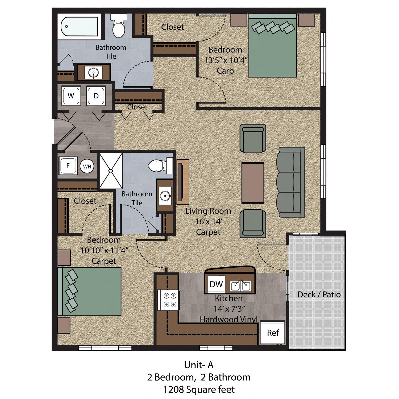 2 Bedroom - Unit A Floor Plan 3